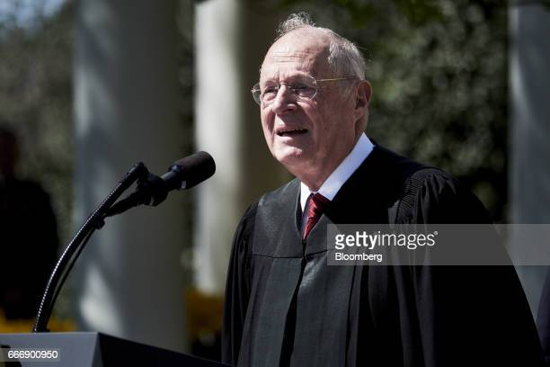 Associate Justice Anthony Kennedy speaks before administering the oath of office to Judge Neil Gorsuch as US Supreme Court associate justice in the...