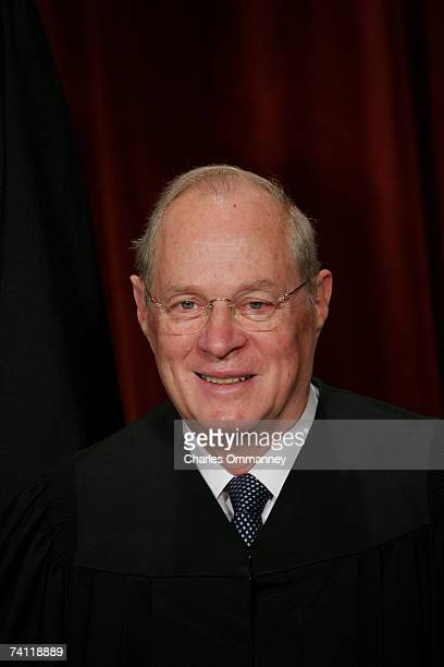 Associate Justice Anthony M Kennedy pose for photographers at the US Supreme Court October 31 2005 in Washington DC Earlier in the day US President...