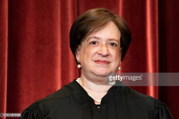 Associate Justice Elena Kagan stands during a group photo of the Justices at the Supreme Court in Washington, DC on April 23, 2021.