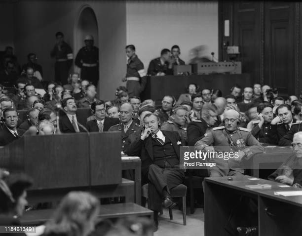 Associate Justice of the Supreme Court of the United States and Chief American prosecutor Robert H. Jackson and Soviet assistant prosecutor General...