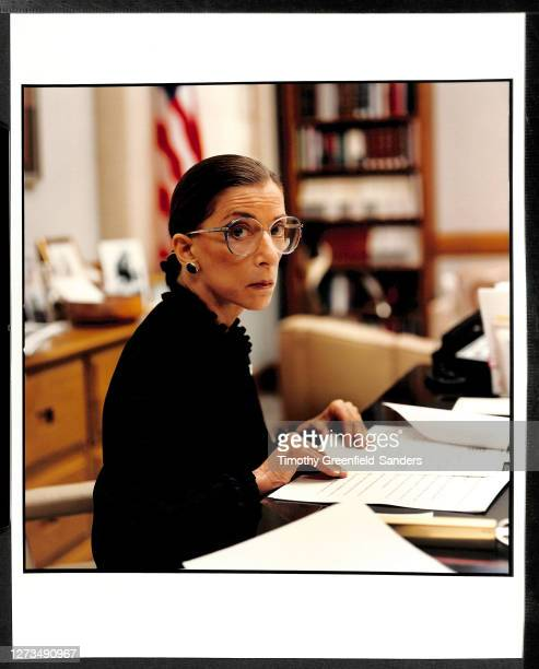 Associate Justice of the Supreme Court of the United States, Ruth Bader Ginsburg is photographed in 1997 in her office in Washington, DC.