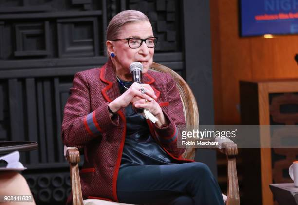 Associate Justice of the Supreme Court of the United States Ruth Bader Ginsburg speaks during the Cinema Cafe with Justice Ruth Bader Ginsburg and...