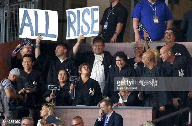 Associate Justice of the Supreme Court of the United States Sonia Sotomayor stands in The Judge's Chambers when Aaron Judge of the New York Yankees...