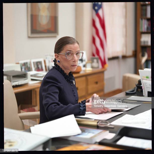 Associate Justice of the Supreme Courtof the United States, Ruth Bader Ginsburg is photographed in 1997 in her office in Washington, DC.