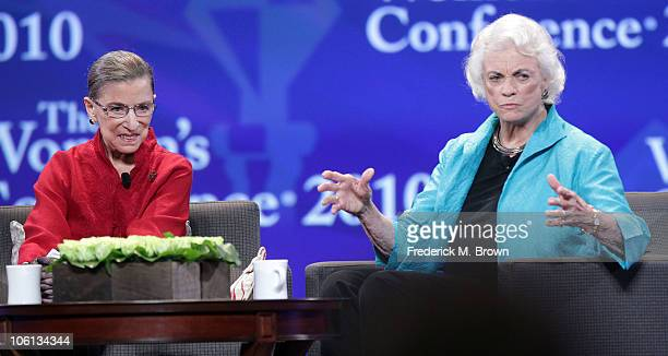 Associate Justice Ruth Bader Ginsburg and Former Associate Justice Sandra Day O' Connor speak during the Maria Shriver Women's Conference at the Long...