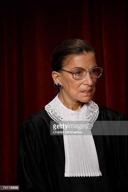 Associate Justice Ruth Bader Ginsburg poses for photographers at the US Supreme Court October 31 2005 in Washington DC Earlier in the day US...