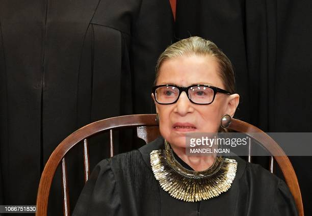 Associate Justice Ruth Bader Ginsburg poses for the official photo at the Supreme Court in Washington DC on November 30 2018