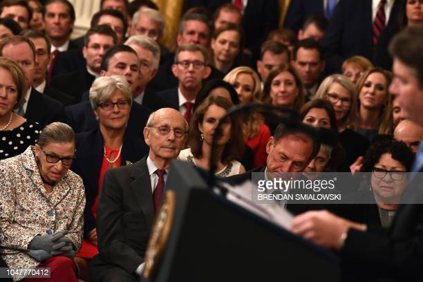 Associate Justices of the US Supreme Court Ruth Bader Ginsburg Stephen Breyer Samuel Alito and Sonia Sotomayor listen to Brett Kavanaugh during his...