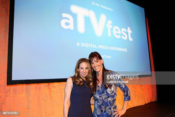 Associate Producer Katie DiMento and Writer/Producer Ingrid Escajeda pose after the discussion of FX TV Series 'Justified' at aTVfest on February 6...