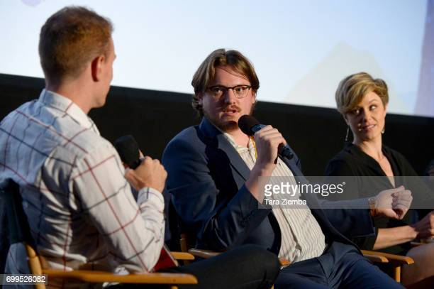 """Associate programmer Cooper Hopkins, Sam Patton, and Jaimi Paige attend the screening of """"Desolation"""" during the 2017 Los Angeles Film Festival at..."""