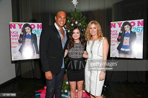 NYLON Associate Publisher Karim Abay actress Lucy Hale and Senior Public Relations Manager for bebe stores Alexis Avery Cittadine attend the...