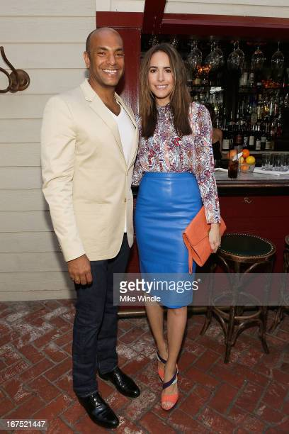 Associate Publisher Karim Abay and Louise Roe attend NYLON Guys and ASOS celebrate April/May cover star Adam Levine at Dominick's Restaurant on April...