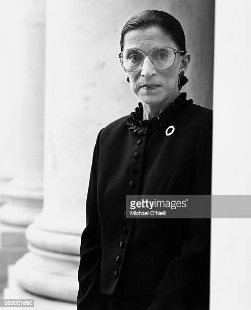 Associate Supreme Court Justice Ruth Bader Ginsburg is photographed for Vanity Fair at Supreme Court of the United States on April 17, 1998 in...