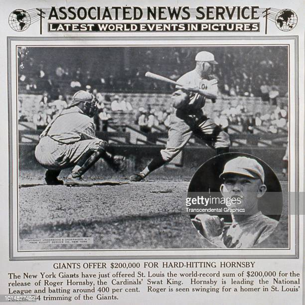 Associated News Service release photo features American baseball player Rogers Hornsby of the St Louis Cardinals seen both at bat during a game and...