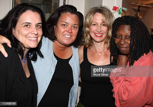 COVERAGE* Associate/Resident Director Dana Harrel Rosie O'Donnell Associate Choreographer DJ Gray and Whoopi Goldberg pose backstage at the musical...
