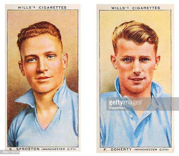 Association footballers Bert Sproston and Peter Doherty of Manchester City FC featured on vintage cigarette cards published circa 1939