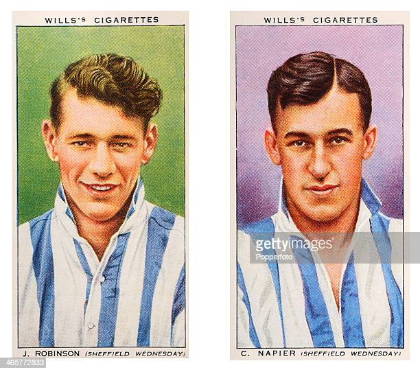Association footballers Jackie Robinson and C Napier of Sheffield Wednesday FC featured on vintage cigarette cards published circa 1939