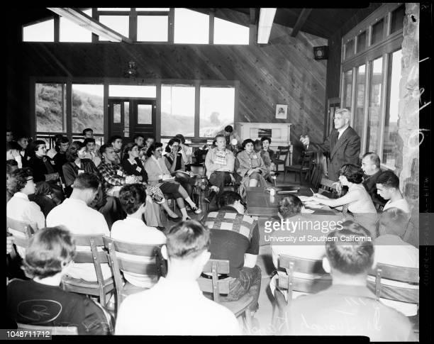Human relations conference 8 May 1954 Dr Joseph KaplanDr BM BrundageShirley KrasnerRichard CacciamareRabbi Alfred WolfCaption slip reads...