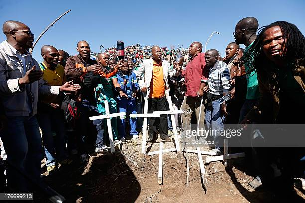 Association of Mineworkers and Construction Union leader Joseph Mathunjwa joins miners and supporters of the Marikana mining community at a memorial...