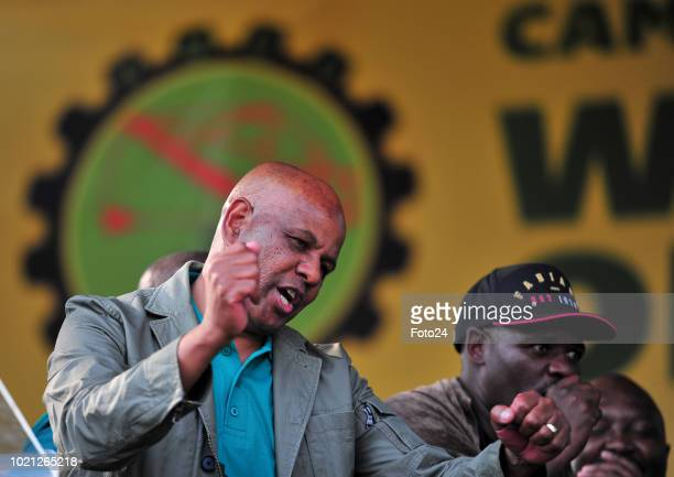 Association of Mineworkers and Construction Union president Joseph Mathunjwa addresses the audience during an event to commemorate the sixth...