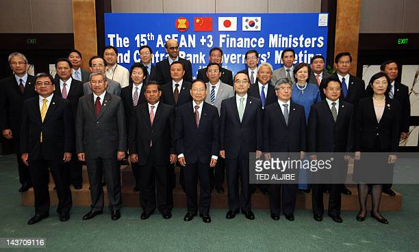 Association of Southeast Asian Nations Finance ministers central governors plus three China Japan and South Korea pose for a group photo during their...