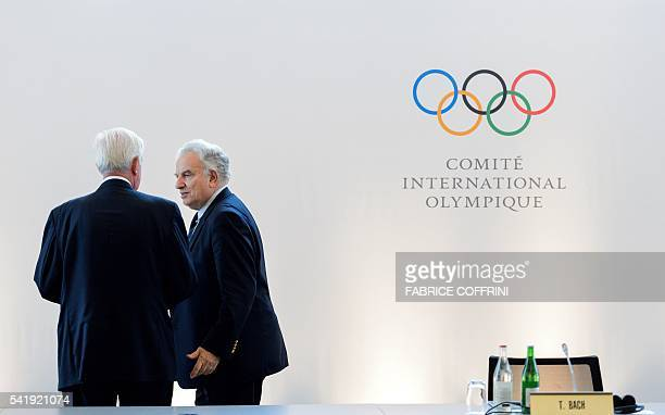 Association of Summer Olympic International Federations President Francesco Ricci Bitti speaks with World AntiDoping Agency president Craig Reedie...