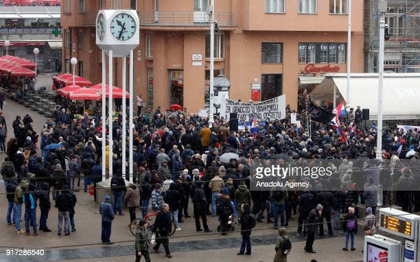 Associations consisting of former soldiers gather at Ban Jelacic Square to protest the Serbian President Aleksandar Vucic's official visit in Zagreb...