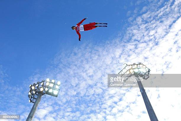 Assoli Slivets of Belarus practices before the Freestyle Skiing Ladies' Aerials Qualification on day seven of the Sochi 2014 Winter Olympics at Rosa...