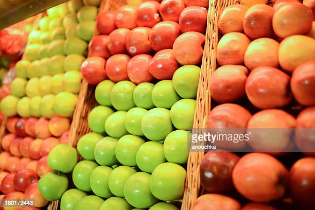 Assorted apples at food market
