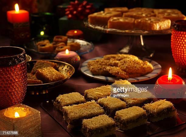 Assorted Arabic Sweets - Konafa, Semolina Cake, Sesame Seed Brittle