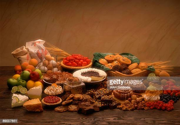 Assorted baked goods with fresh ingredients