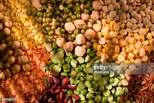 Assorted bean, pea and grain background.
