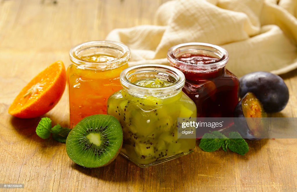 Assorted berries and fruit jams. Homemade canning. : Stock Photo
