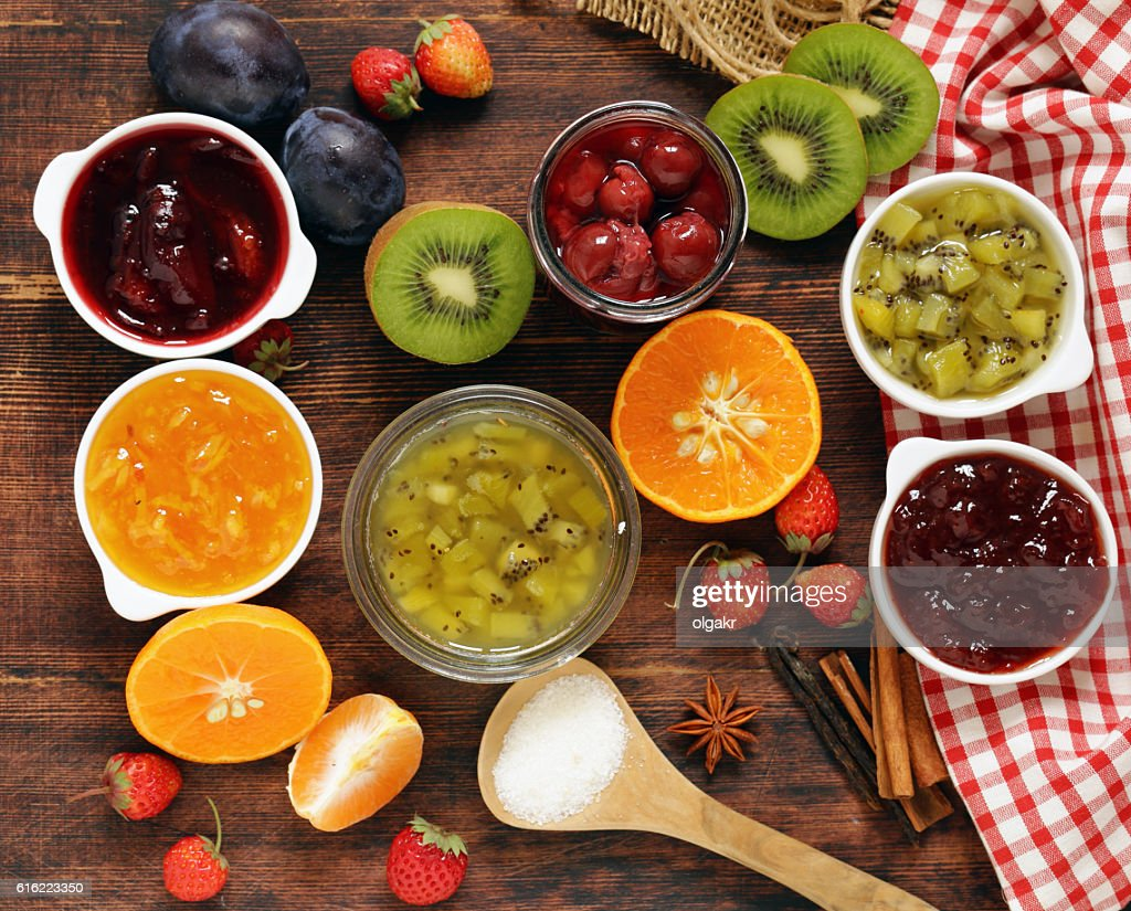 Assorted berries and fruit jams. Homemade canning. : Stock-Foto