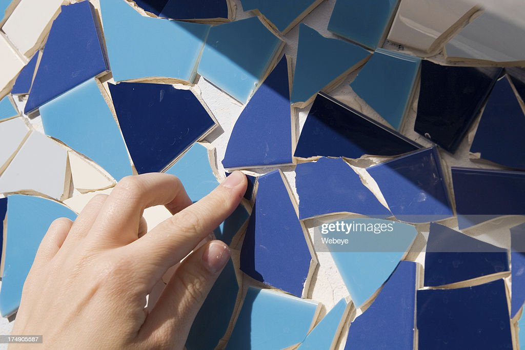 Assorted blue colored mosaic tiles : Stock Photo