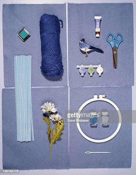 Assorted blue theme arts and crafts supplies