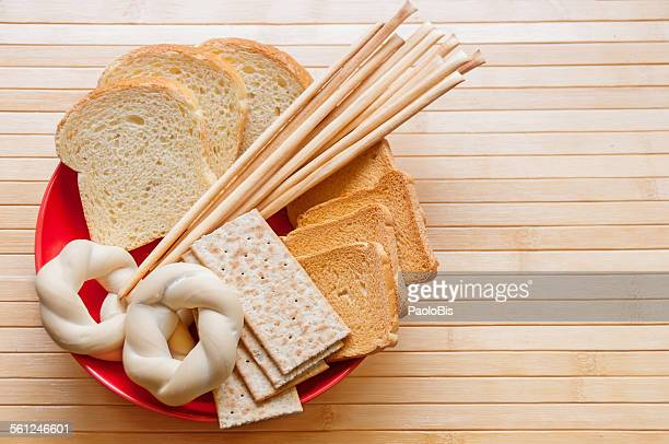 Assorted breads, breadsticks and baked goods