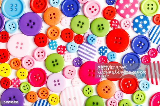 assorted buttons - botón mercería fotografías e imágenes de stock