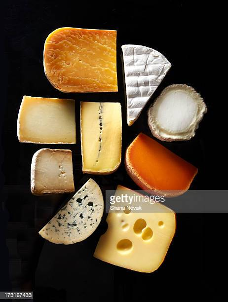 assorted cheese slices - cheese stock pictures, royalty-free photos & images