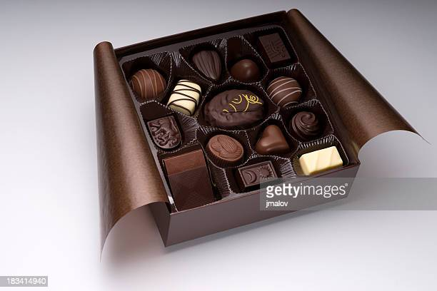 assorted chocolate box - box of chocolate stock pictures, royalty-free photos & images
