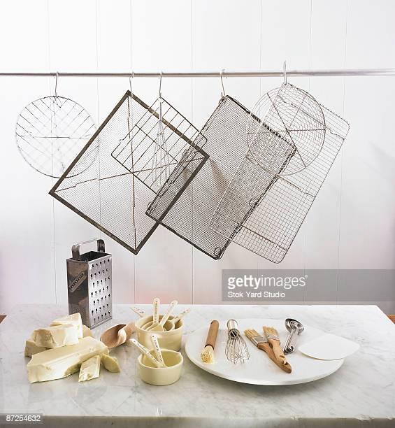 Assorted chocolate making utensils