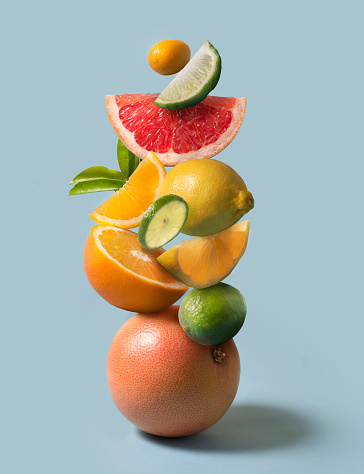 Assorted citrus fruits stack still life. - gettyimageskorea