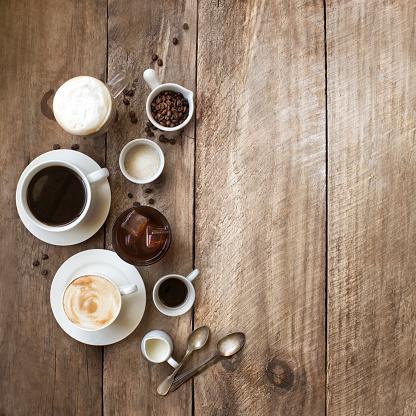 Assorted coffee drinks still life. - gettyimageskorea