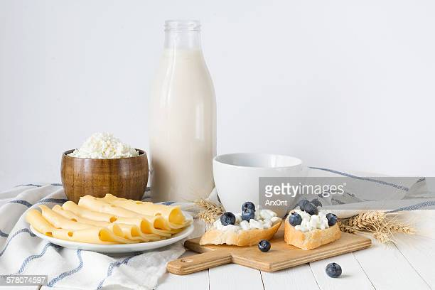 Assorted dairy products on white
