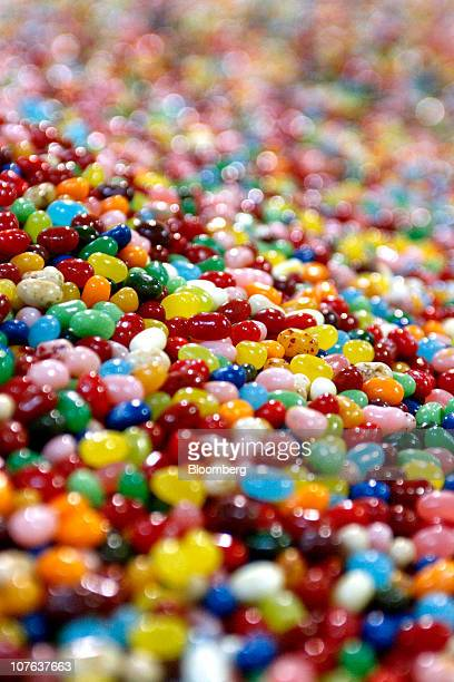 Assorted flavors of jelly beans wait to be packaged at the Jelly Belly Candy Co. Manufacturing facility in Fairfield, California, U.S., on Tuesday,...
