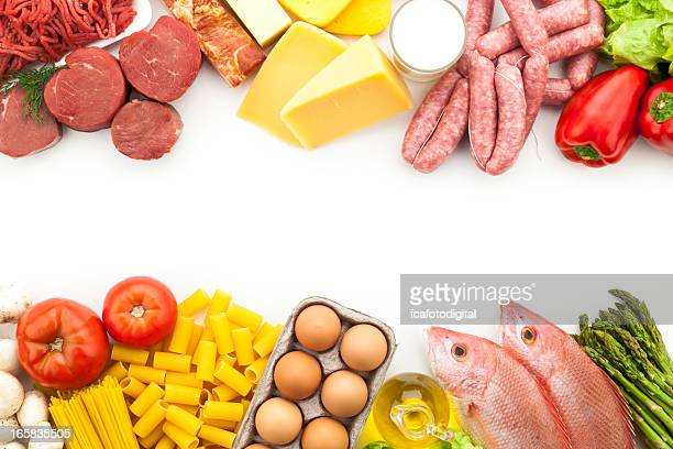 Assorted food border with copy space