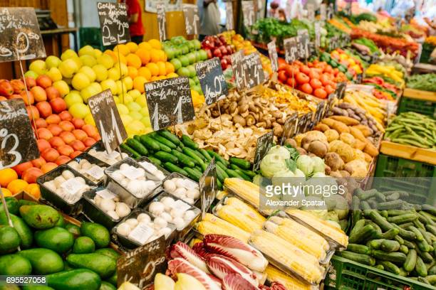 Assorted fruits and vegetables at the farmer's market in Vienna, Austria
