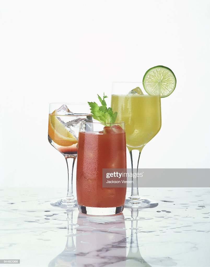 Assorted fruity cocktails : Stock Photo