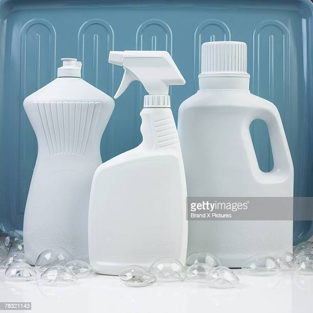 assorted generic cleaning products - dishwashing liquid stock photos and pictures