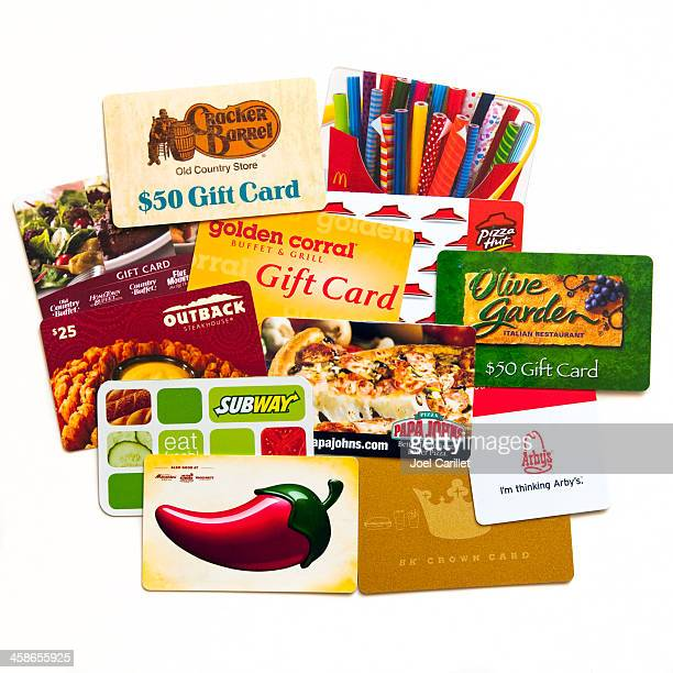 assorted gift cards - gift card stock photos and pictures